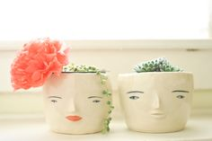 How to survive the winter: Get a couple of ridiculously cute face pots, add succulents and name them Mrs. Bed Head and Mr. Hat Hair (or you know, whatever you want). Pots by Rami Kim