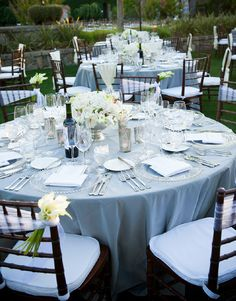 Ideas. . .polycotton, glass charger plate, chiavari chairs, it's in the details!