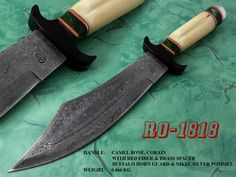 """14.4"""" Damascus steel Bowie  This Awesome custom made BOWIE  knife has a nice hand forged with the combination of 4340 &1060 steel. For Order: bhrcuttlery2010@gmail.com       bilal.anjum@kmatraders.net"""