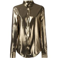 Saint Laurent Metallic Meteorite Shirt (2,280 BAM) ❤ liked on Polyvore featuring tops, clothing /, kirna zabete, yves saint laurent, metallic shirt, yves saint laurent shirt, drop shoulder shirt and collared shirt