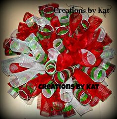 Custom 3 color Curly Deco Mesh Wreath by CreationsByKat2012, $35.00
