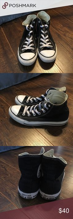 Black high top converse Used black high tops. Women's 8, men's 6 Converse Shoes Sneakers