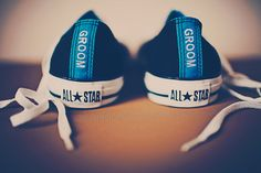 Converse Shoes with groom stitched on the back.