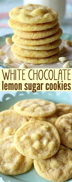 White Chocolate Lemon Sugar Cookies Recipe via Belle of the Kitchen - So Yummy (Dessert Recipes Christmas) Oreo Dessert, Cookie Desserts, Just Desserts, Delicious Desserts, Easy Cheap Desserts, Cookie Favors, Yummy Food, Lemon Sugar Cookies, Sugar Cookies Recipe