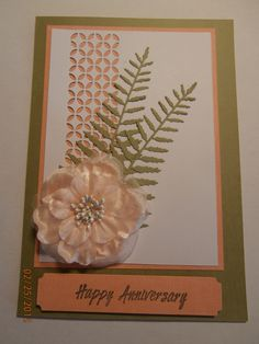 Memory Box Piestra Tile & Delicate Fern together with Green Tara Latte flower. Papers were Kaisercraft Sprout and Salmon