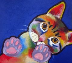 An original painting of Yeawon's cat in Ron Burns style