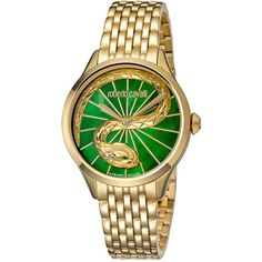 Roberto Cavalli Women's Rc-35 Watch ($450) ❤ liked on Polyvore featuring jewelry, watches, jewelry & watches, nocolor, roberto cavalli watches, stainless steel wrist watch, gold tone jewelry, quartz movement watches and green jewellery