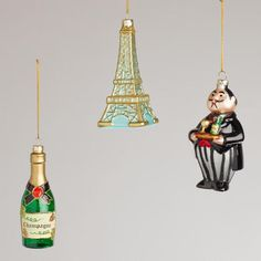 France Glass Ornaments (set of 3) from World Market ($14.99)