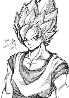 Goku sketch by karulox on @DeviantArt