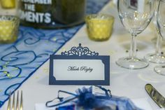 Elegant blue name tags, for a sunflower and navy blue colour schemed Wedding.