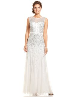 Adrianna Papell Sleeveless Beaded Illusion Gown on shopstyle.co.uk
