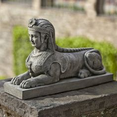 Attractive Campania International Sphinx Cast Stone Garden Statue Natural   S  $129.99