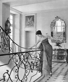 Simone DAillencourt in a chiffon gown by Christian Dior, 1957