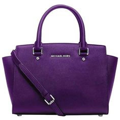 Pre-owned Michael Kors Michael Neon Selma Grape Satchel ($337) ❤ liked on Polyvore featuring bags, handbags, grape, satchel handbags, satchel purses, handbag satchel, pocket purse and michael kors satchel
