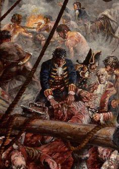 Muerte de Churruca en el San Juan Nepomuceno. Batalla de Trafalgar 1805 Nautical Artwork, Nautical Theme, Old Sailing Ships, Pirate Art, Pirate Adventure, Easy Canvas Art, Man Of War, Naval History, Medical Art