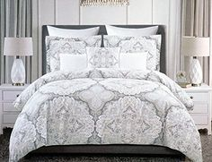 Tahari Home 3pc Full / Queen Duvet Cover Set Large Medallion Grey Taupe White Luxury Cotton Sateen (Queen, Taupe)