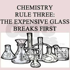 This is what happens every time in chemistry lab - I'm happy to say I didn't do any of the breaking this year, yey!