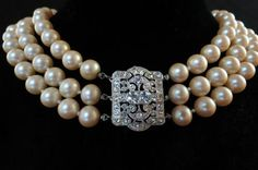 Kenneth Lane (KJL) 3 Strand Glass Pearl Necklace W/ Rhinestone Clasp