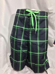 "0bee5ddf6f Men's OP Swim Trunks Board Shorts Black And Bright Green Plaid XL 22""L NWT  #OceanPacific #Trunks"