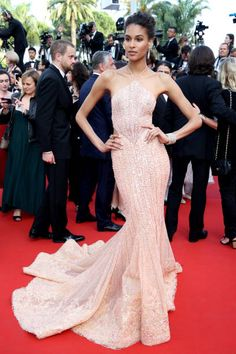 Cindy Bruna in in GEORGES HOBEIKA attends the 'The Beguiled' screening during the 70th annual Cannes Film Festival at Palais des Festivals on May 24 2017 in Cannes France