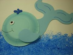 W is for whale - Uses saran wrap painting, pair with Jonah and the whale lesson
