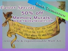 Easter special ends tomorrow. 50% off all Memory Murals. Each Mural comes with a lesson on Bible Memory for Kids and adults, coloring page, and a drawing lesson.