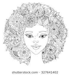 zentangle: Beautiful fashion orientdl women with abstract hair and floral design elements of Peacock feathers, could be used for coloring book. Black and white in zentangle style. Free Coloring Pages, Coloring Sheets, Coloring Books, Hair Coloring, Zentangle, Art Afro, Boho Designs, Flowers In Hair, Design Elements