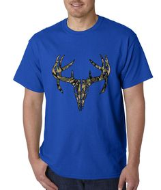Camo Deer Skull - Woodland Mens T-shirt