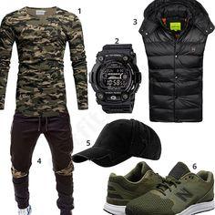 Camouflage Style mit Longsleeve und New Balance Schuhen (m0627)