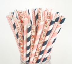 Paper Straws Pink Navy & Floral Preppy Party Mix Paper Straws Mason Jar Straws  Fast Shipping Choose 25 50 75 or 100 Paper Straws #Pink #Wedding #PinkWedding #Paper
