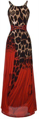 Angel-fashions Women's Leopard Spaghetti Strap Red Rhinestone Evening Long dress Red Medium