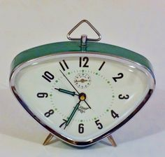 I want this clock! Large Vintage French Green Enameled Wind Up Alarm by Decofanatique, $65.00