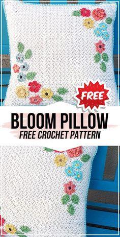 crochet Bloom Pillow free pattern - easy crochet pillow pattern for beginners Pillow Case Crafts, Crochet Pillow Cases, Crochet Pillow Patterns Free, Crochet Cushion Cover, Crochet Cushions, Free Pattern, Knitting Patterns, Crochet Home, Easy Crochet