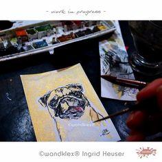 Macht Spaß: mopsfidele Auftragsarbeit nach Kundenfoto - in glamouröser Goldedition! #wandklex #malerei #handgemalt #aquarell #hahnemühle #kunst #art #watercolor #watercolours #watercolour #watercolors #etsyresolutionDE #etsyresolution2016 #wip #studio #atelier #kunstatelier #pug #mops #dog #hund