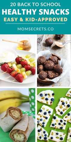 Here you can find 20 healthy, easy to make, and delicious recipes ideas for back-to-school snacks. Kids and moms will love them!! #backtoschool #snacksforkids #healthysnacks School Snacks For Kids, Snacks Kids, Healthy Snacks For Kids, Easy Healthy Recipes, Healthy Meals, Delicious Recipes, Yummy Food, Healthy Breakfast Snacks, Easy Recipes For Beginners