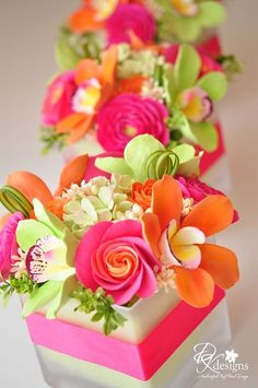 Pink, Orange and Green Flowers