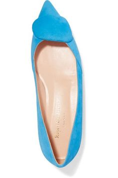 Rupert Sanderson - Aga Suede Point-toe Flats - Bright blue - IT35.5