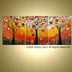 AUTUMN TREES 48X20 original oil painting, triptych artwork, fantasy fall landscape,ready to hang