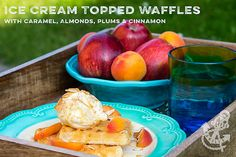 Ice Cream Topped Waffles with Caramel, Almonds, Plums and Cinnamon