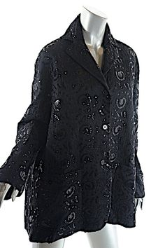 c3d6434d Black Acetate Silk Blend Embroidered with Sequins Jacket Size 12 (L). Free  shipping