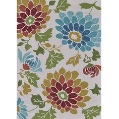 Decorate your home indoors or out with these transitional hand-hooked rugs. The rugs feature a bright floral design against an ivory background that allows the colors to stand out greatly in contrast, enhancing the appearance of the flowers depicted.