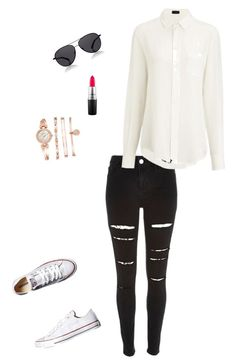 """""""Untitled #5"""" by georgia-marcellus on Polyvore featuring River Island, Converse, Joseph, The Row, MAC Cosmetics and Anne Klein"""