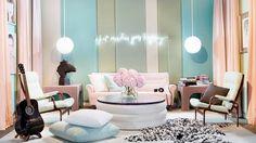 Interior Designer Brian Patrick Flynn's playfully sophisticated living room design, upholstered in stylish pastel Sunbrella fabrics Neon Signs Home, Pastel Colors, Pastels, Pastel Room, Pastel Decor, Soft Colors, Pastel Pink, Light Colors, Sunbrella Fabric