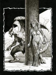 Dark Fantasy Art, Fantasy Kunst, Fantasy Artwork, Arte Horror, Horror Art, Illustration Fantasy, Ange Demon, Comic Kunst, Sword And Sorcery