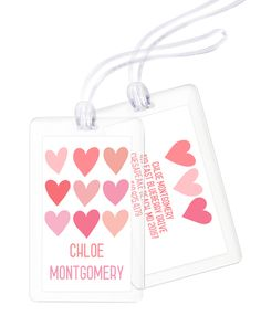 Personalized Pink Hearts Luggage Tags