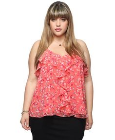$17.80 Ruffled Floral Crossback Cami | FOREVER21 - 2000044468