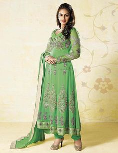 Green georgette wedding chudidar suit | G3-WSS1586