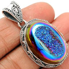 Titanium Window Druzy 925 Sterling Silver Pendant Jewelry TWDP523…