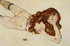Egon Schiele, Female Nude Lying on Her Stomach, 1917 Gustav Klimt, Painting Process, Painting & Drawing, Alberto Moravia, Vides, Oil Painting Reproductions, Art Archive, Erotic Art, Figure Drawing