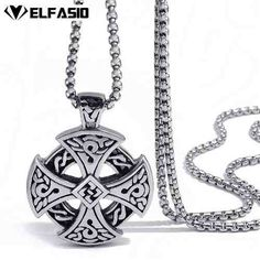 Cheap solar cross, Buy Quality celtic cross jewelry directly from China celtic jewelry Suppliers: Mens Boys Stainless Steel Pendant Chain Silver Black Celtic Solar Cross Necklace fashion Jewelry Ring Bracelet, Ring Necklace, Pendant Necklace, Fashion Jewelry Necklaces, Fashion Necklace, Colar Fashion, Bff, Chain, Pendants